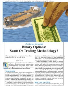 Stocks & Commodities: Binary options scam or trading methodology?